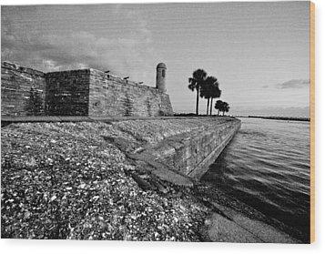 Black And White Castillo De San Marcos View 3 Wood Print