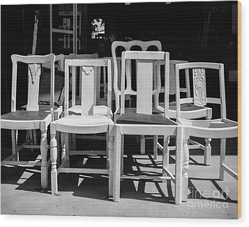 Black And White Chairs Wood Print by Sonja Quintero