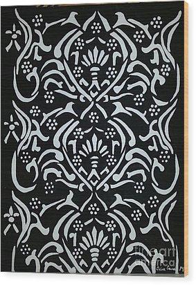 Black And White Classic Damask Wood Print by Debra Acevedo