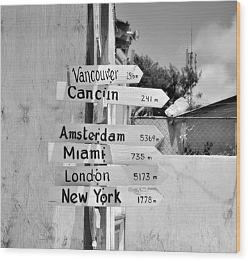 Black And White Directional Sign Wood Print