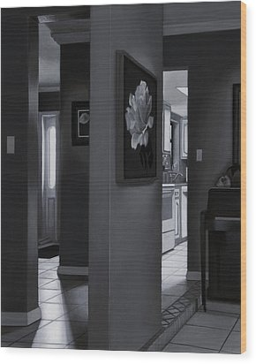 Black And White Foyer Wood Print by Tony Chimento