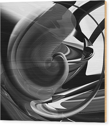 Black And White Future Abstract Wood Print