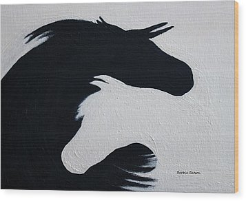 Wood Print featuring the painting Black And White Horses Together Forever by Barbie Batson