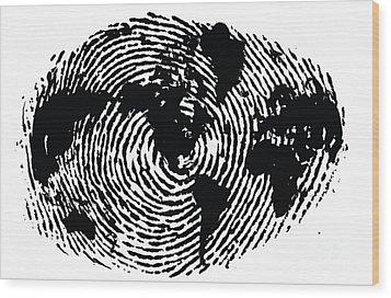 black and white ink print poster One of a Kind Global Fingerprint Wood Print by Sassan Filsoof