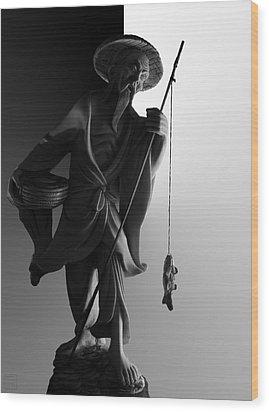 Black And White Ivory Fisherman Wood Print by Sean Kirkpatrick