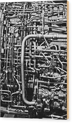 Black And White Jet Engine Wood Print by Dan Sproul