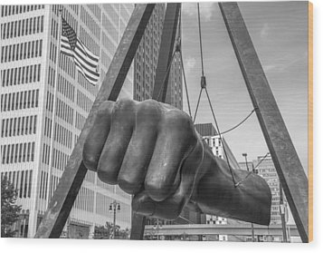 Black And White Joe Louis Fist And Flag Wood Print