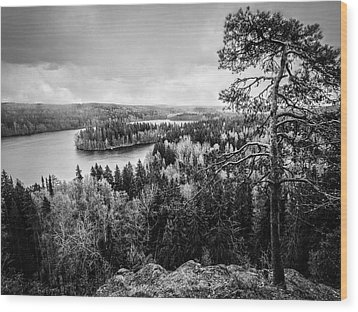 Black And White Lake View Wood Print