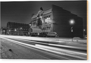 Black And White Light Painting Old City Prime Wood Print by Dan Sproul