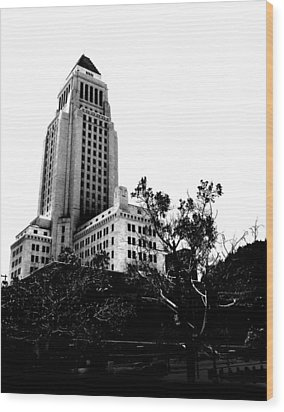 Wood Print featuring the photograph Black And White Los Angeles Abstract City Photography...la City Hall by Amy Giacomelli