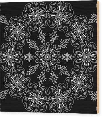 Black And White Medallion 11 Wood Print by Angelina Vick