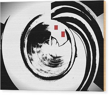 Black And White Movement Wood Print