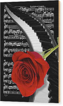 Black And White Music Collage Wood Print
