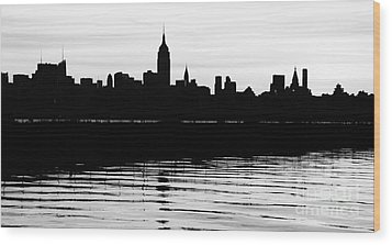 Wood Print featuring the photograph Black And White Nyc Morning Reflections by Lilliana Mendez