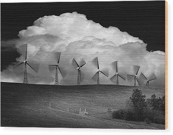 Black And White Of Wind Generators With Wood Print by Don Hammond