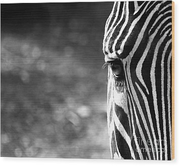 Black And White On Black And White Wood Print