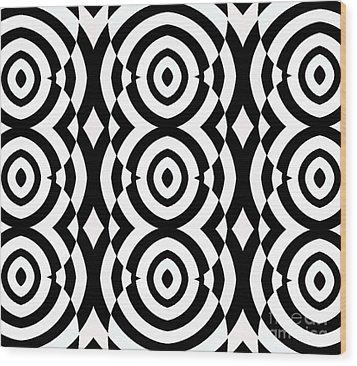 Black And White Op Art Pattern No.249. Wood Print by Drinka Mercep