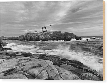 Black And White Painted Seascape Wood Print by Sharon Seaward