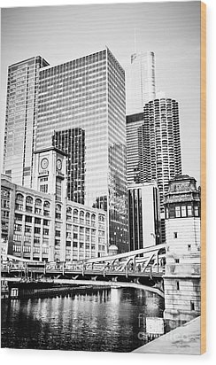 Black And White Picture Of Chicago At Lasalle Bridge Wood Print by Paul Velgos