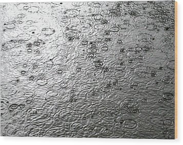 Black And White Rain Wood Print
