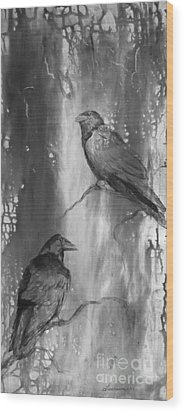 Black And White Ravens Wood Print