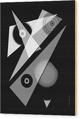 Black And White Shapes Art Wood Print by Mario Perez