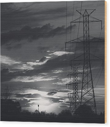 Black And White Skies Wood Print