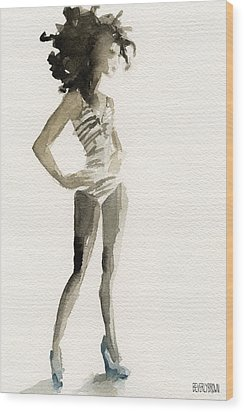 Black And White Stripes 3 Watercolor Fashion Woman Art Print Wood Print by Beverly Brown