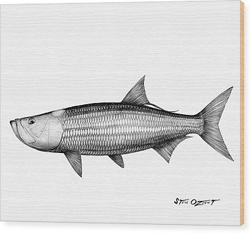 Black And White Tarpon Wood Print