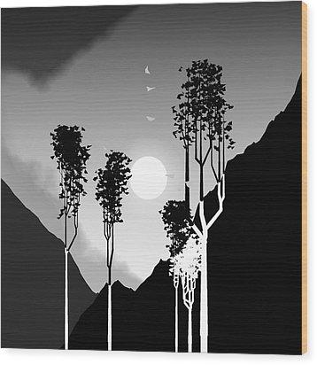 Black And White Trees Wood Print by GuoJun Pan