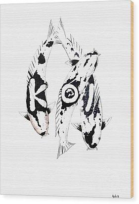 Black And White Trio Of Koi Wood Print by Gordon Lavender
