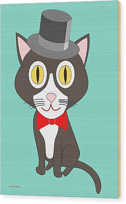 Black And White Tuxedo Cat Wood Print