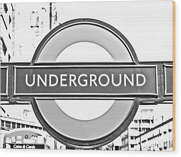 Black And White Underground Wood Print by Georgia Fowler