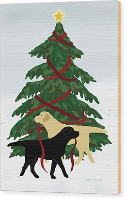 Black And Yellow Labs Trim Christmas Tree Wood Print