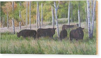 Black Angus Grazing Wood Print