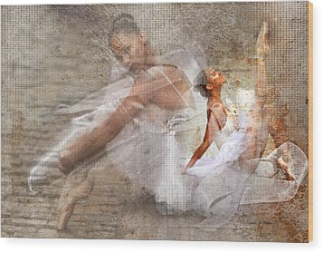Black Ballerina Wood Print