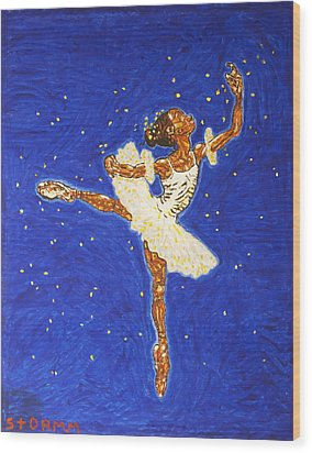 Black Ballerina Wood Print by Stormm Bradshaw