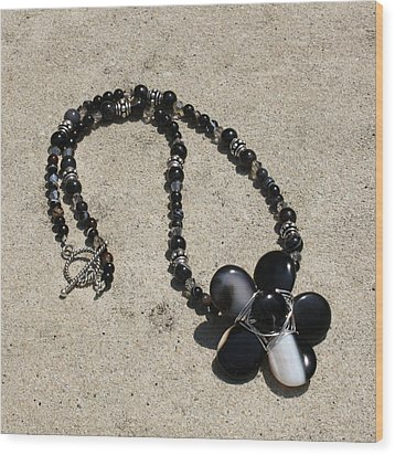 Black Banded Onyx Wire Wrapped Flower Pendant Necklace 3634 Wood Print by Teresa Mucha