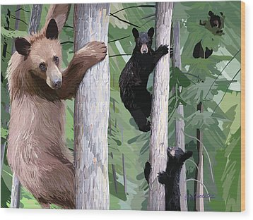 Black Bear Family Wood Print