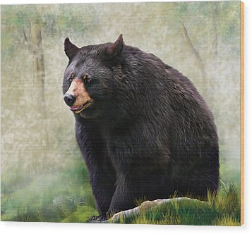 Wood Print featuring the painting Black Bear by Mary Almond