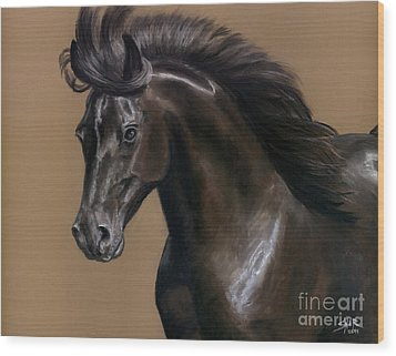 Wood Print featuring the painting Black Beauty by Sheri Gordon
