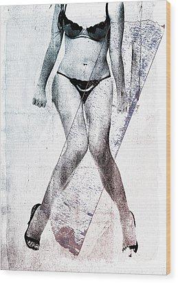 Black Bikini Wood Print by David Ridley