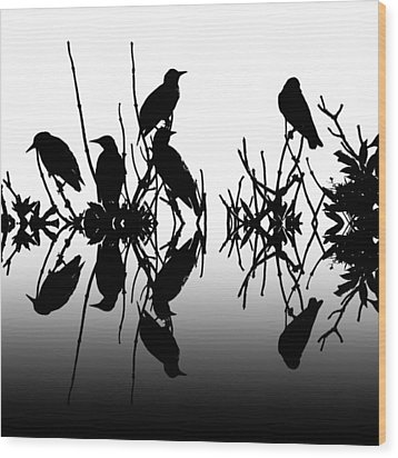 Black Birds Wood Print by Sharon Lisa Clarke