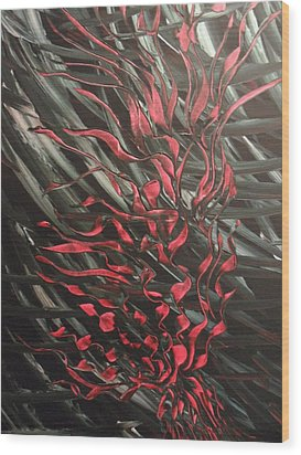 Wood Print featuring the painting Black Blood by Nico Bielow