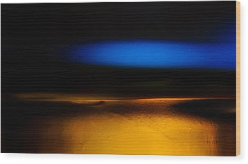 Black Blue Yellow Wood Print by Bob Orsillo