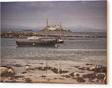 Black Boat Wood Print