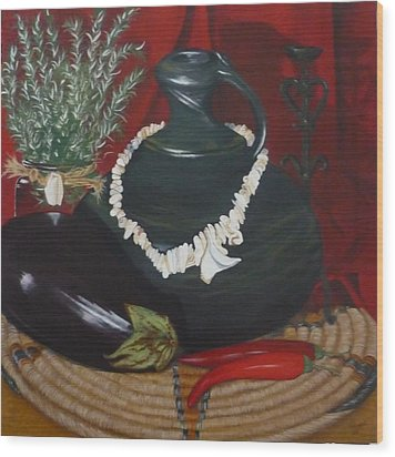 Wood Print featuring the painting Black Bottle by Helen Syron