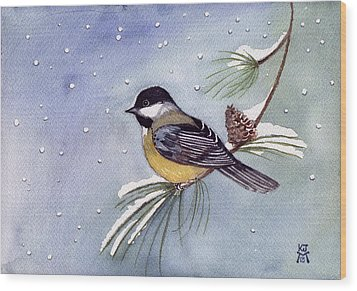 Black-capped Chickadee Wood Print by Katherine Miller