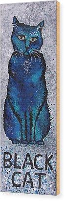 Black Cat Blue Wood Print by Michelle Boudreaux