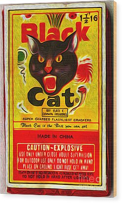 Black Cat Fireworks Wood Print by Gregory Dyer